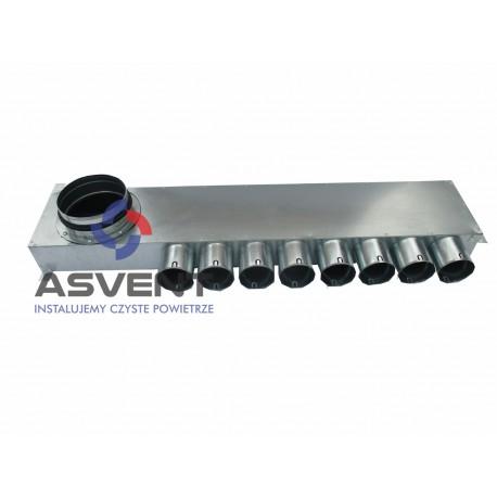 Rozdzielacz rurowy ośmio-króćcowy 8x75/160 boczny z przekładanym króccem