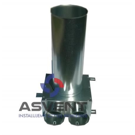 Skrzynka rozprężna 2x75mm pod anemostat 125 dł. przyłącza 320 mm + uszczelki
